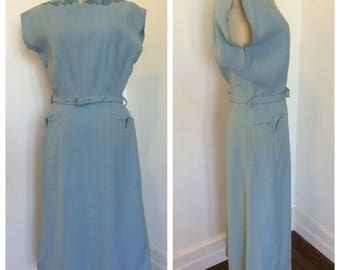 1950s sky blue linen wiggle dress sz S-M