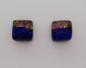 Tiny dichroic glass post earrings