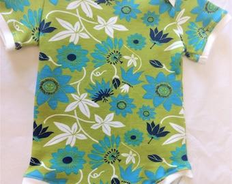 ORGANIC Baby Bodysuit - Green & Blue Flowers - 12 mos - HANDMADE
