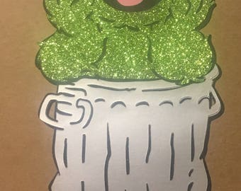24 inch tall  oscar the grouch sesame street glitter foil layereddie cut cut outs for birthday decoration or centerpiece