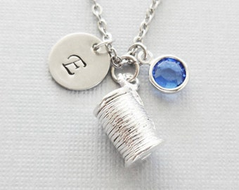 Thread Spool Necklace, Spool Charm, Sewing, Seamstress, Swarovski Birthstone, Silver Initial, Personalized, Monogram, Hand Stamped Letter