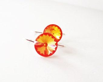 Bright orange rivoli earrings. Bright orange crystal earrings. Sterling silver crystal. Bright orange earrings.