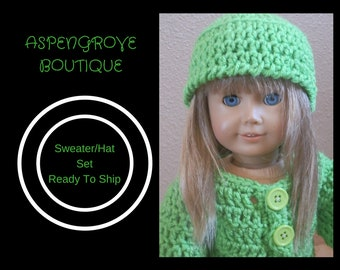 18 inch doll handmade lime green Sweater hat set Ready to ship