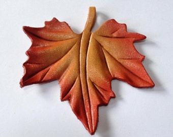 Leather Leaf Pendant - Maple Leaf - Large Size - 70mm