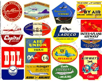 Airline Labels, Printed Sheet, Aviation Clip Art, Airplane Decals, Art Paper Collage, Vintage Airline Scrapbook Paper, Luggage Label, 486a