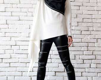 White Loose Top/Extravagant Black And White Tunic/Zipper Jacket/Asymmetric Long Top/Plus Size Blazer/Long Sleeve Tunic/White Neoprene Top