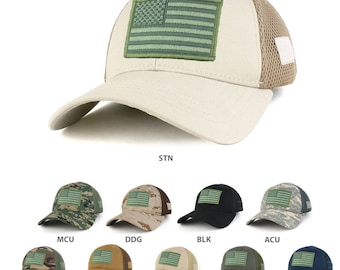 US American Flag Olive Embroidered Patch Low Crown Adjustable Tactical Mesh Cap  (T91-USA-OLV2-T80)