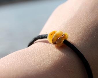 Rustic Amber Bracelet Yellow Orange Brown Baltic Amber Men Bracelet Rough Stone Sunny Black Milky Minimalist Jewelry Charm Bracelet