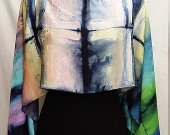 3 in 1: Scarf, shrug, blouse and poncho in natural Japanese silk - Shibori handpainted