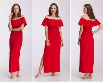 Long Bridesmaid Dress , Boho Bridesmaid Dress Red Bridesmaid Dress Long Evening Dress Summer Party Dress A0035