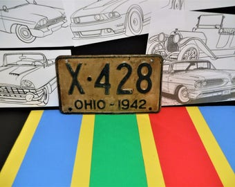 """1942 OHIO LICENSE PLATE...""""X 428""""...Collector...Birthday?...Anniversary?...Year Of Manufacture?...Or Plain Old Garage Art!"""