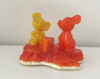 Vintage Mice and Cheese Mold Figure Orange Yellow Mouse Plastic Figure 1969 New Designs Kitsch USA Unique Decor