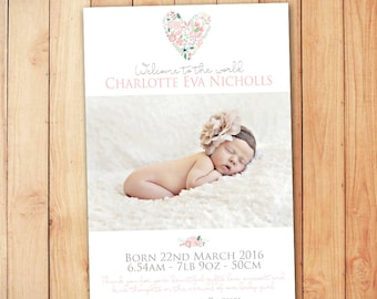 Floral Birth Announcement Card - Baby Thank You Card