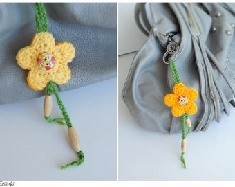CLEARANCE 50% Yellow flower bag charm. Spring gift for her. Beautiful gift for mother. Two faces keychain. Long decoration for purse Keyring