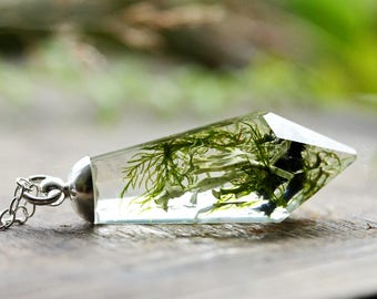 Green moss  crystal necklace, real plant jewellery, woodland moss pendant, sterling silver, botanical gift, Irish craft #B7