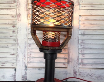 Steampunk Lamp with red accents