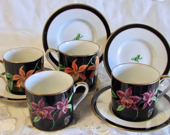 Jaguar Jungle Demitasse Cup and Saucers, Set of 4 Orchid Cups and Frog Saucers, Birthday Gift, Wedding Gift, Tea Party, Coffee Hour