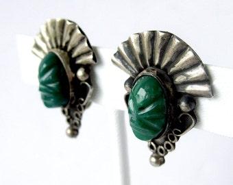 Vintage Mayan Aztec Tribal Jade Face  Silver Taxco TC Screw Back Earrings Set