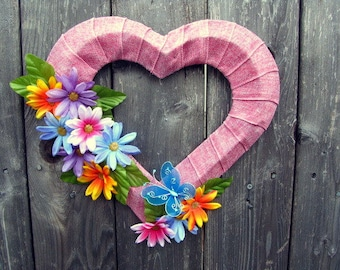 Pink Floral Butterfly Rustic Door  and Wall Wreath
