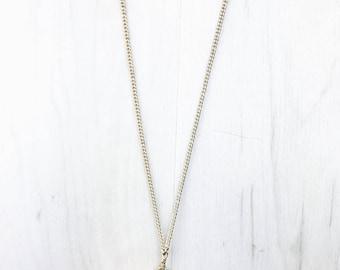 Rhodochrosite + Rose Quartz & Gold Tone Pendant Necklace