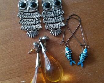 Trio of Boho Earrings - Owls, Fish, and Drops of Honey