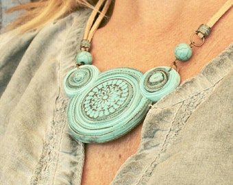 Ethno style . Boho style . Necklace . Polimer clay . Handmade . Jewelry. Composition . Clousure gold/silver/bronze color .