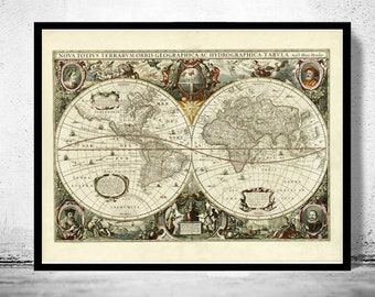 Old World Map antique 1641