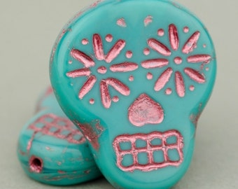 Czech Glass Beads - Sugar Skull Beads - Dia De Los Muertos Beads - Turquoise Blue Opaque with Pink Wash Beads - 20x17mm - 2, 4 or 10 Beads