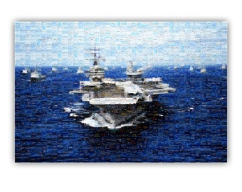 Air Craft Carrier Photo Mosaic Poster