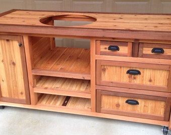 Custom Grill Table Or Cabinet For Kamado Joe, Big Green Egg, Primo Grills