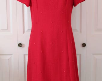 1960s Red Polka Dot Wiggle Dress Large
