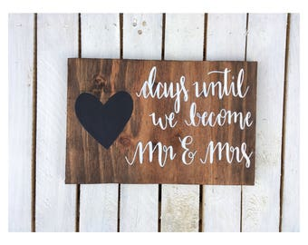 Rustic Wooden Wedding Countdown Sign