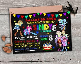My Little Pony Invitation, My Little Pony Equestria Girls Invitation, Equestria Girls birthday, invites, My Little Pony card, My Little Pony