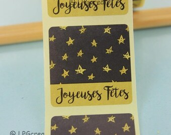"20 labels stickers ""happy holidays"" Decor star # V23B"