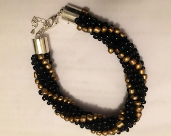 Beaded Rope Bracelet - Black & Gold