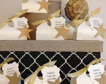Favor Boxes with Star Embellishment Baby Shower Favor Gift Boxes