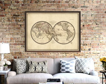 Antique world map etsy antique world map print old map of the world reproduction map fine art gumiabroncs Gallery