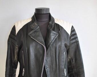 Vintage MOTORCYCLE LEATHER JACKET , women's leather jacket ..........(349)