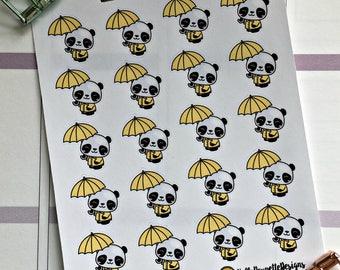 Anna the panda mini stickers - umbrella / rainy day