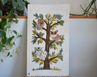 Vintage Hand Made Owls in Tree Finished Crewel | Owl Crewel | Vintage Owl Decor