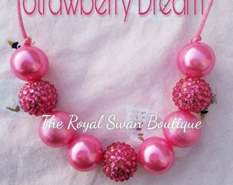 Beautiful Baby Girl Strawberry Dream Adjustable Chunky Bead Bubblegum Necklace