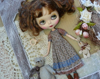 Blythe clothes / Blythe brown dress vintage / Pullip dress, pullip clothes,  brown dress