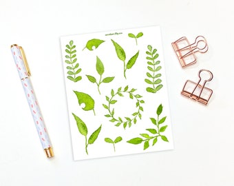 Watercolor green leaf stickers - 11 decorative planner stickers, nature stickers, leaf stickers, bujo stickers, bullet journal stickers