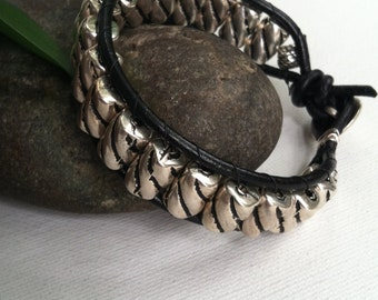 Men's bracelet, men's leather bracelet, mens silver bracelet, mens wrap bracelet, mens beaded bracelet, men's gift, gifts for him.