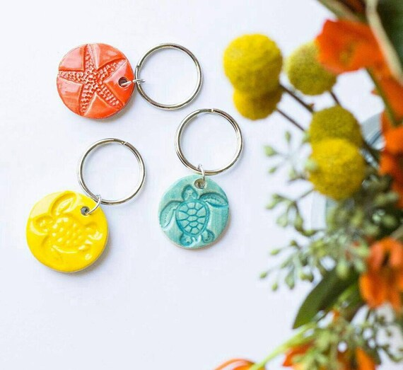 Ready to Ship Stamped Sea Life Key Ring
