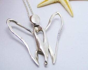 Open Angel Pendant, Light angel jewellery, Open Small Butterfly Angel, angel jewelry
