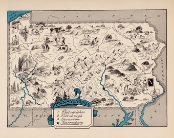 30's Vintage PENNSYLVANIA Picture Map State Cartoon Map Print  Gallery Wall Art Library Office Decor Gift for Birthday Travel Wedding