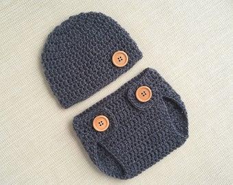 New baby gift Boy newborn hat and diaper cover Newborn boy outfit Photo prop Newborn crochet outfit Baby boy photo outfit New born outfit