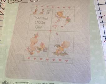 Vintage Precious Moments Keepsakes Quilt Kit Stamped Printed Cross Stitch Baby shower, Hearts, Pastel floss,diy, Gloria & Pat 1993 Janlynn