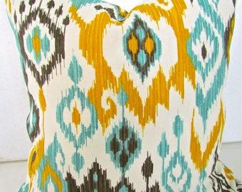 Gold Throw PILLOWS Mint Throw Pillow Covers Gold Pillow 14x14 Ikat Indoor/Outdoor Pillow Covers Aqua Turquoise Gray Throw pillows